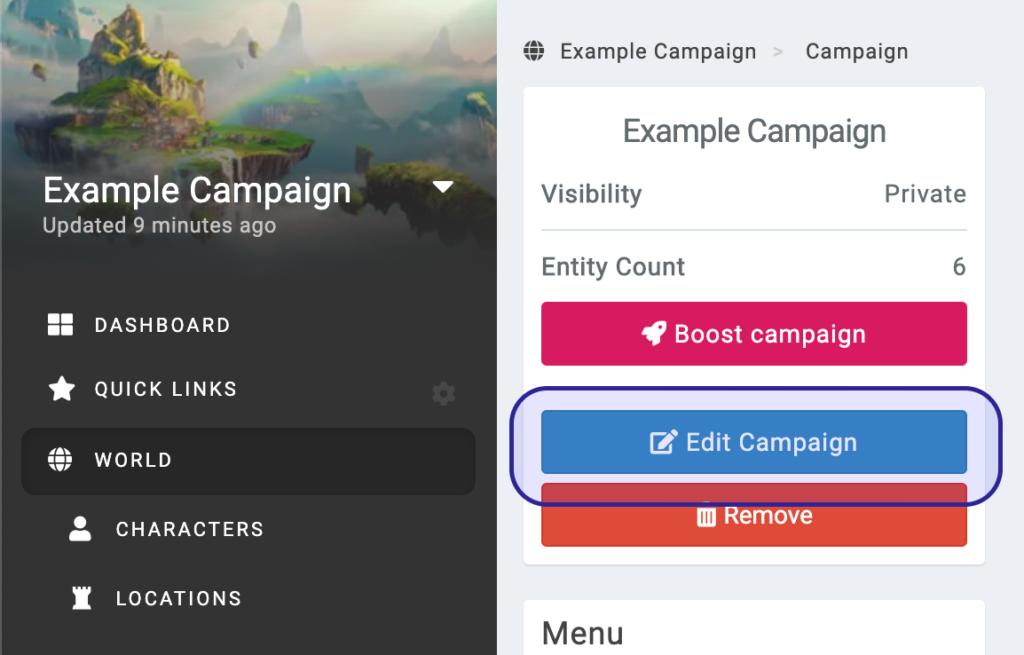 kanka edit campaign button