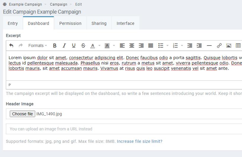 campaign dashboard edit form