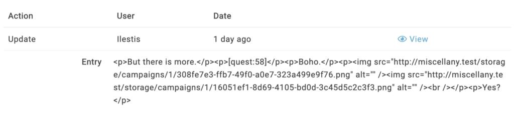 entity logs