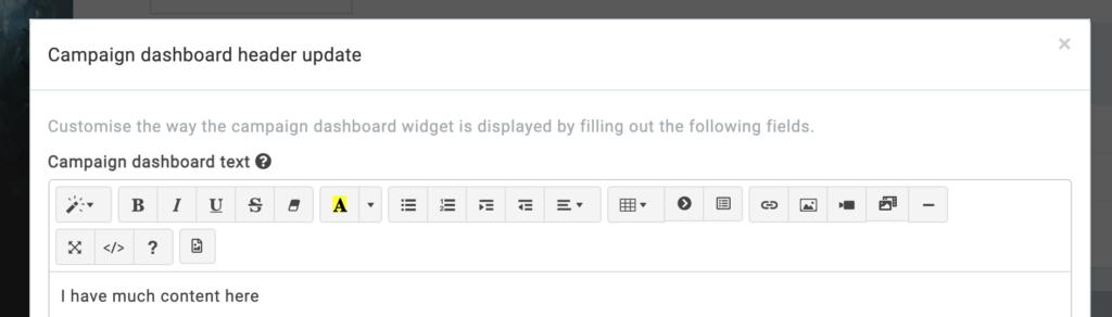 dashboard campaign header widget form