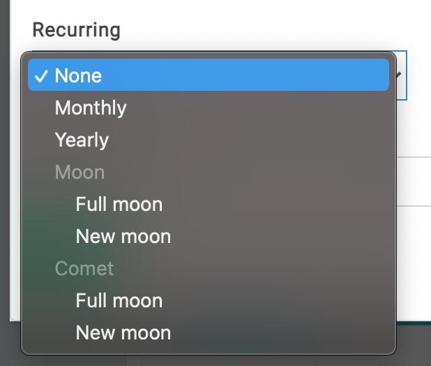 reminders recurring options