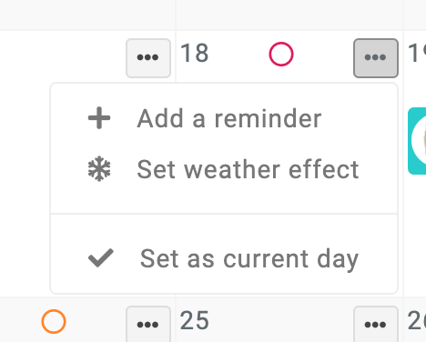 calendar day actions above reminders