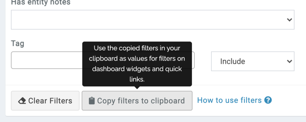 filters copy to clipboard button