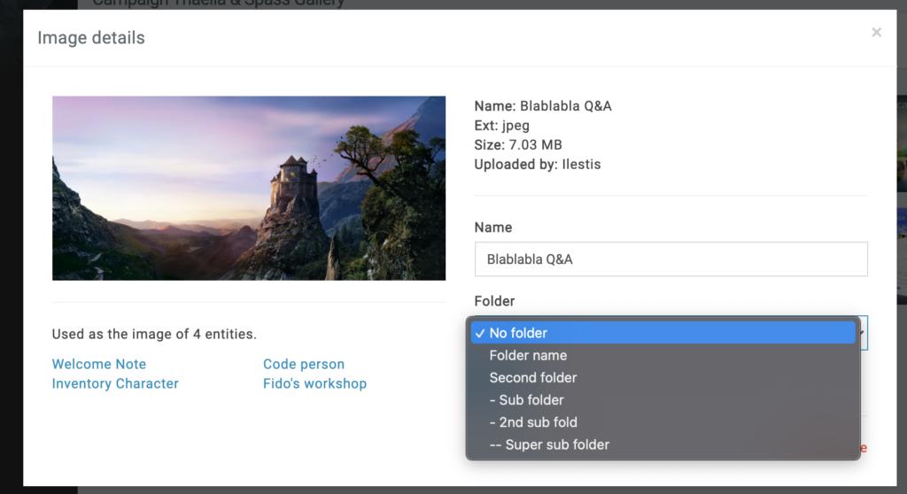 gallery folder dropdown hierarchy