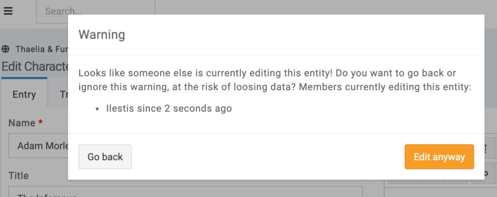 Edit warning multiple people